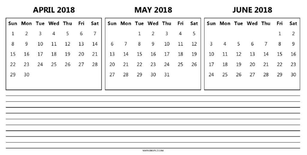 April May June 2018 3 Month Quarterly Calendar Printable With