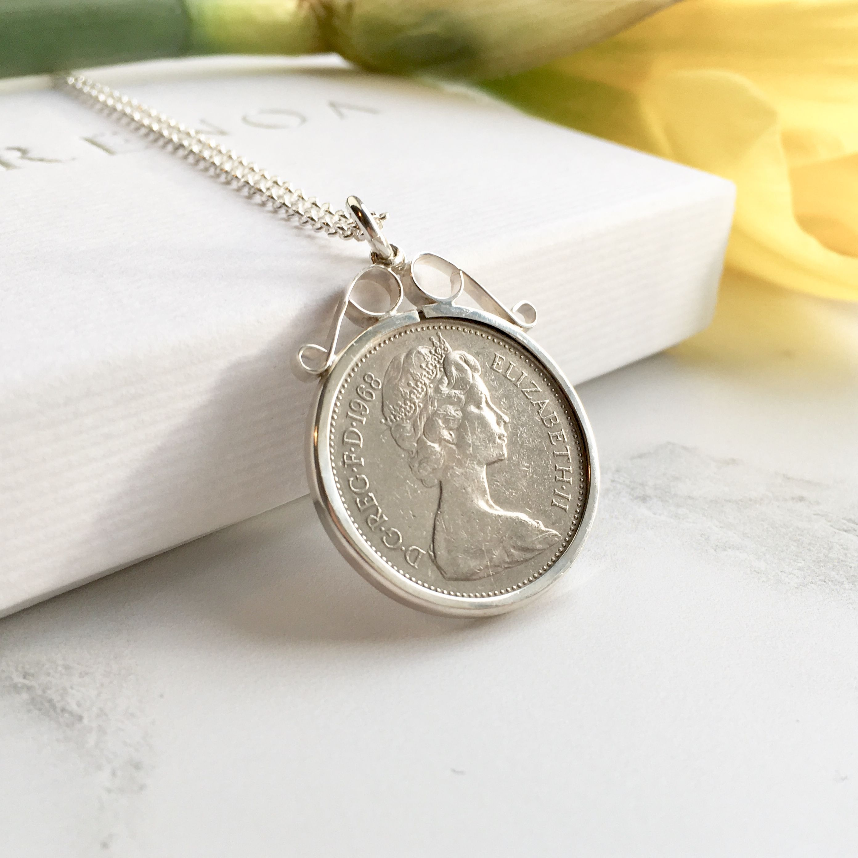 50th birthday gifts 1969 lucky coin necklace classic