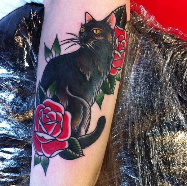 Old School Traditional Nautic Ink Black Cat Cute Cat Tattoo Cat Tattoo Designs Black Cat Tattoos