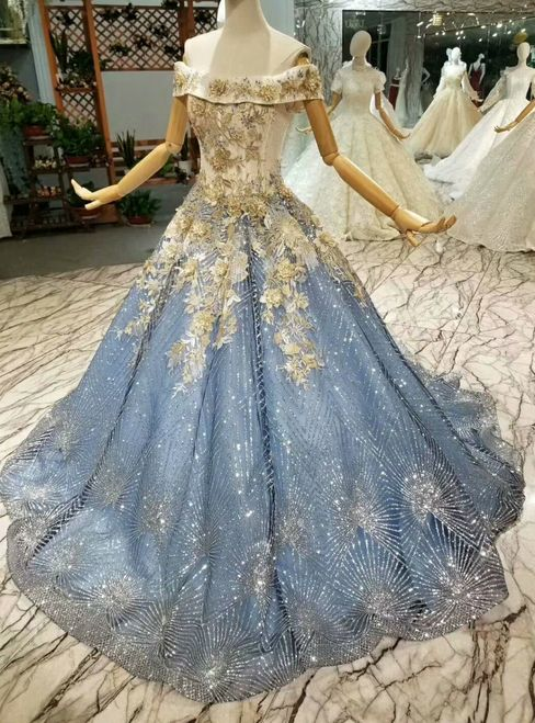 Blue Ball Gown Tulle Sequins Off The Shoulder Appliques Wedding Dress #tulleballgown