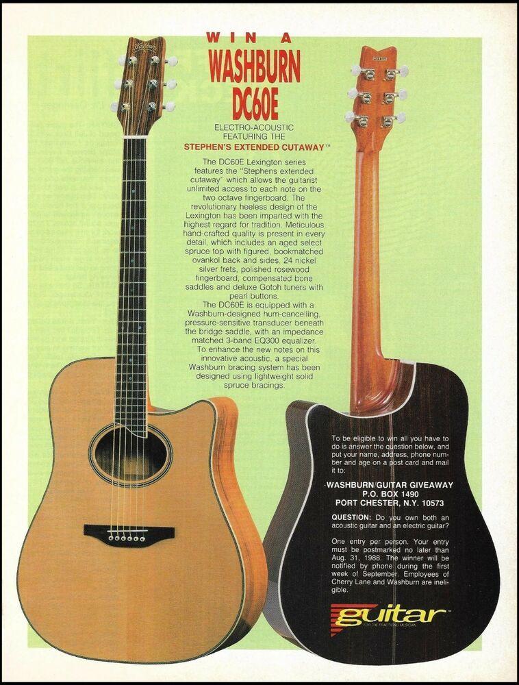 Washburn DC60E Lexington Series acoustic guitar 1988 contest 8 x 11