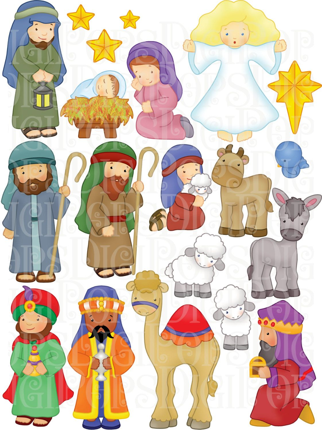 Nativity Digital Clip Art Set -Personal and Commercial- Christmas ...