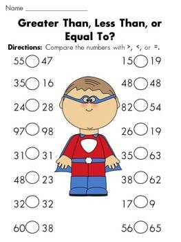 44 Pages Greater Than Less Than Equal To Huge Superhero Themed Packet 1 2 And 3 Digit Worksheets And Activiti Education Math Math School Homeschool Math
