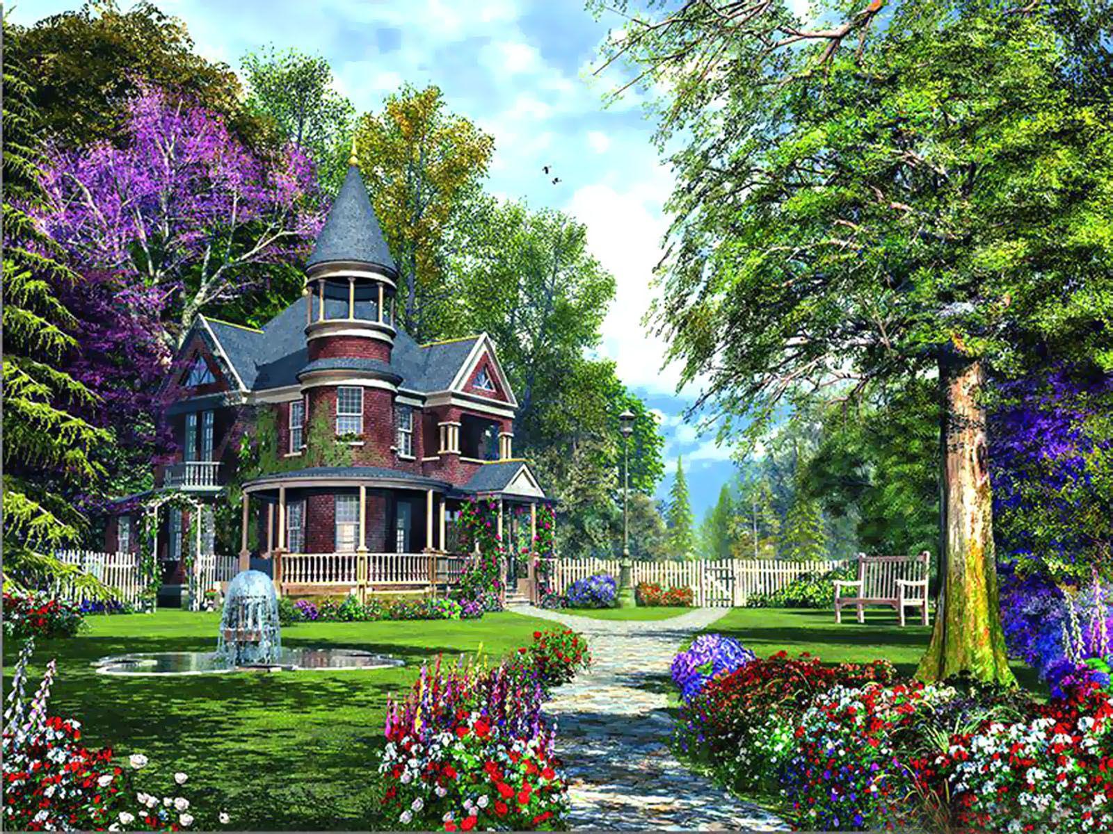 Luxurious Flower Garden HD Widescreen Wallpaper Lanskap