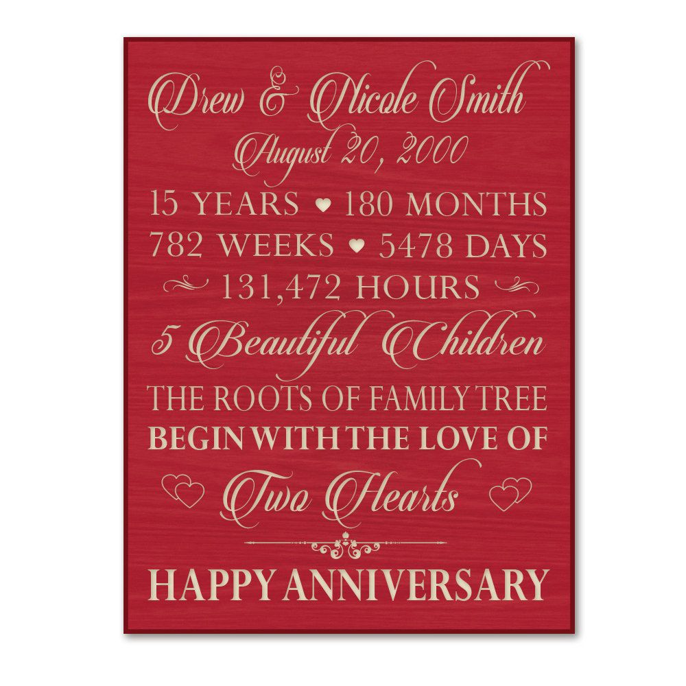Personalized 15th Anniversary Gift For Him,15 Year Wedding