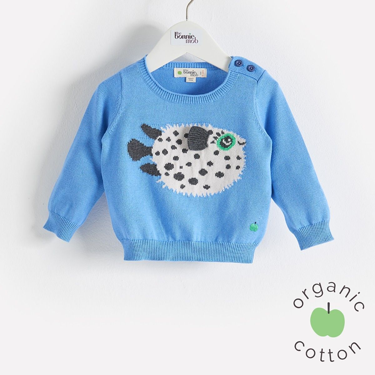 The Bonnie mob SS16 - The Life Aquatic. PUFFY Blue Pufferfish Sweater - Organic Cotton. Lightweight knitted sweater with 'puffer fish' intarsia design.