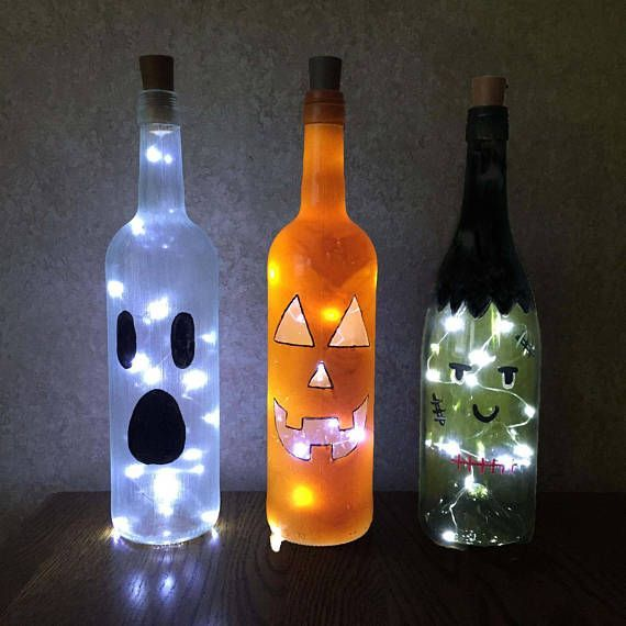 Halloween Wine Bottle Decorations with or Without String Lights - Ghost, Pumpkin, Frankenstein