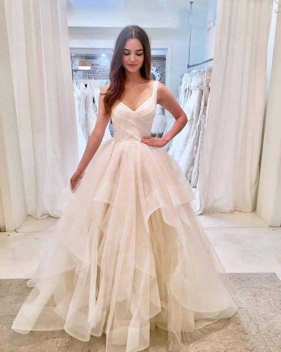 V-Ausschnitt Ballkleid Brautkleid Mode nach Maß Brautkleid YDW0047 Als Pro …