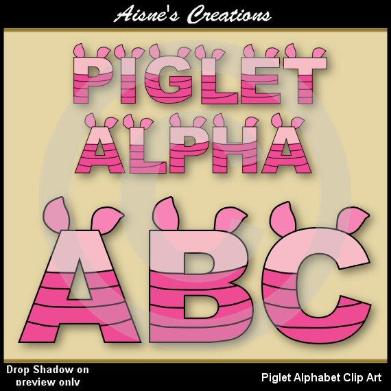 Piglet Alphabet Clip Art - matching Numbers also available