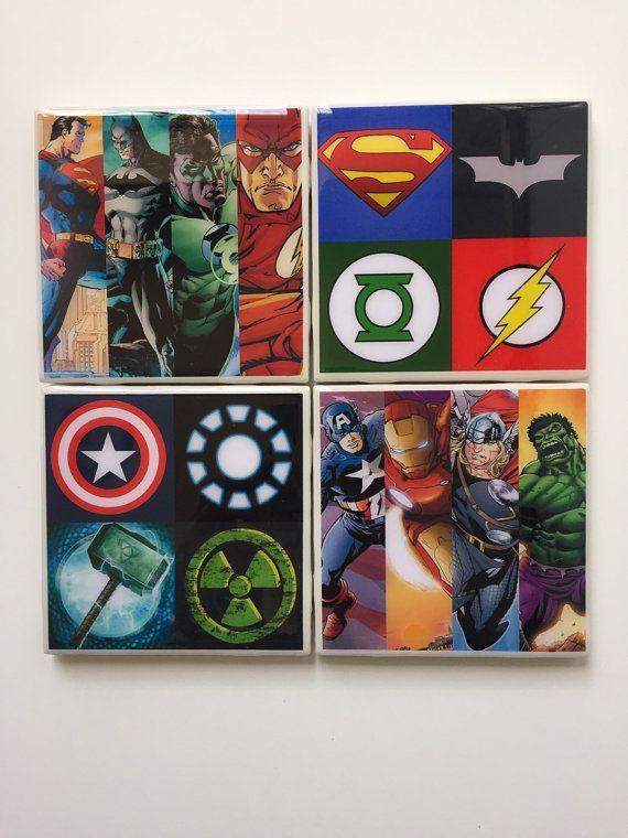 Marvel Meet DC Comic Logos and Heros Inspired Ceramic Coaster set of 4