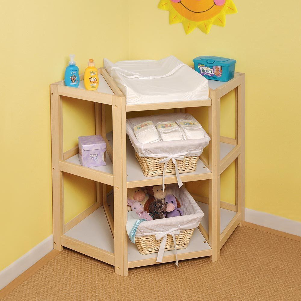 Badger Basket Diaper Corner Changing Table Front Facing As Opposed To Sideways With Images Baby Changing Tables Corner Changing Tables Changing Table
