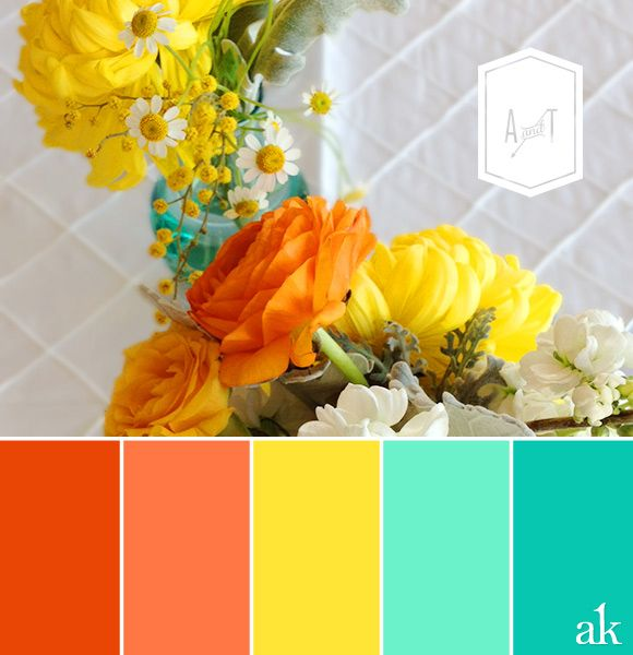 Amy Tracy S Wedding Color Palette Turquoise Teal Yellow And Tangerine Orange Color Inspiration Color Schemes Summer Color Palette