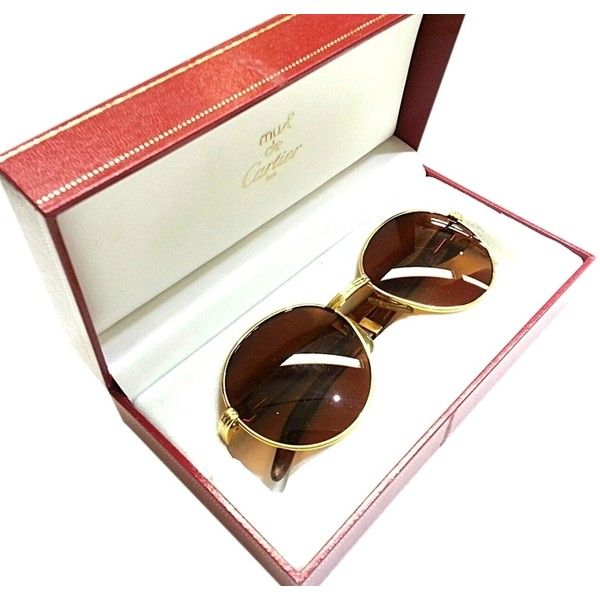 2ea2e8c9a9f Eyeglasses · Eye Glasses · Pre-owned Vintage Cartier Gold Tone   Wood Frame  Brown Lenses France.