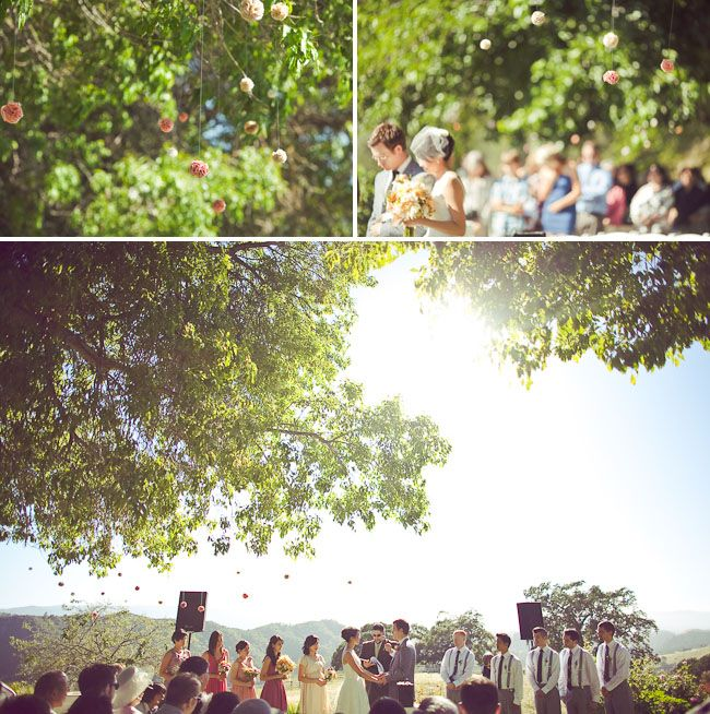 Outdoor Handmade Ranch Wedding: Daphne + Tim | Fabric poms, Ranch ...