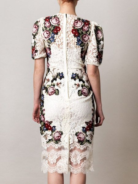 ccf96533 Dolce & Gabbana Embroidered Lace Dress in White - Lyst | Fashion& ...