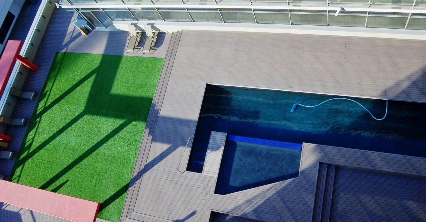 The pool deck at the Icon Building in Cape Town (With