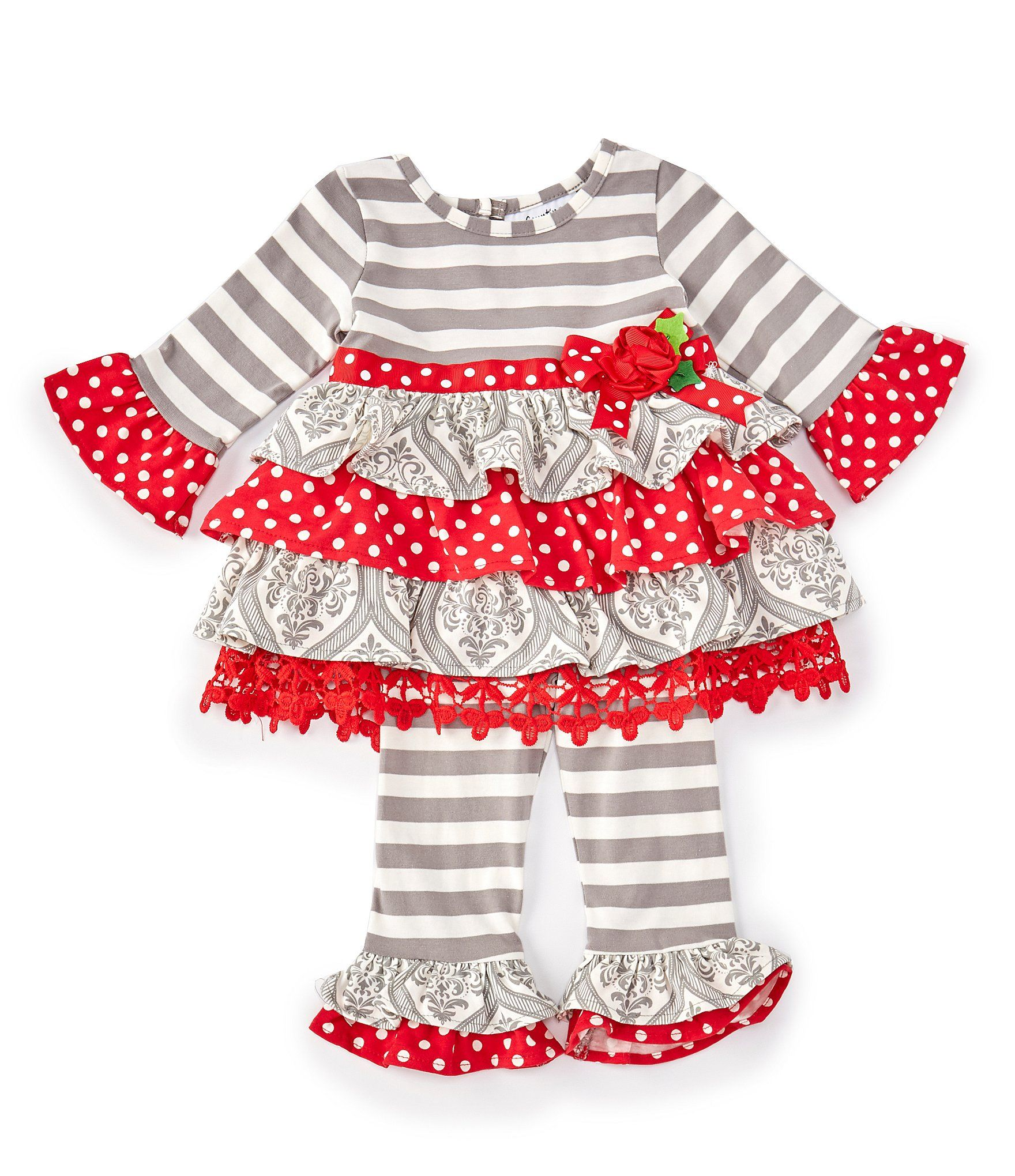 Rare Editions Baby Girls 3-24 Months Mixed-Media Fit-And-Flare Dress & Striped Leggings Set #stripedleggings