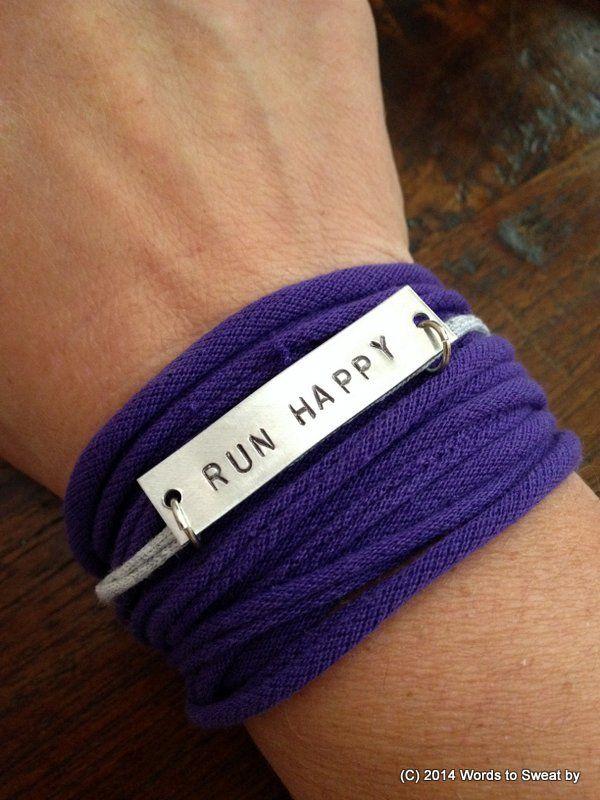 Motivational Workout Bracelet With Cotton Wrap Charm Run