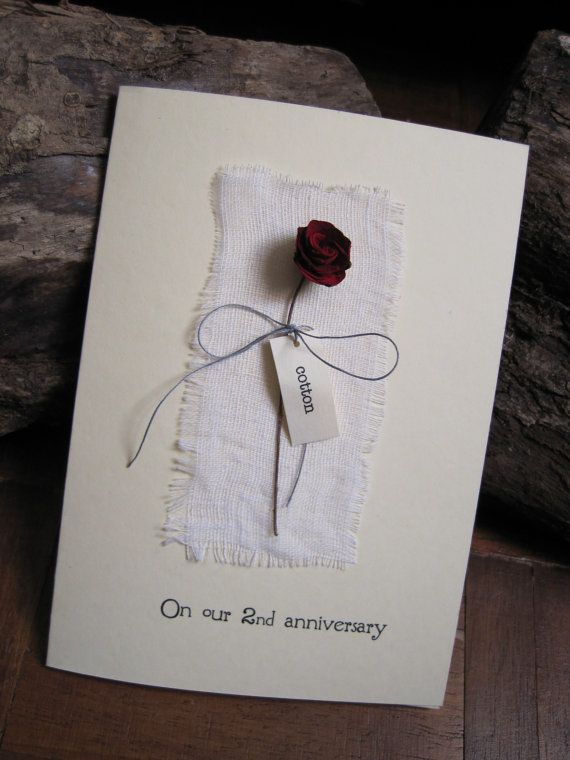 2nd wedding anniversary card with cotton fabric red rose cotton