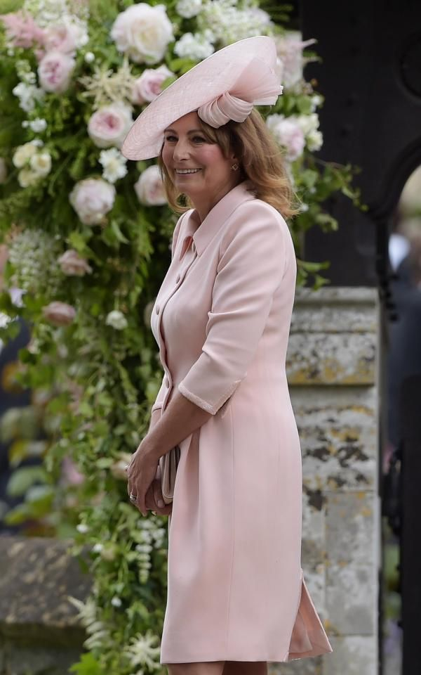 Kate Middleton S Proud Mum Carole Pictured At Pippa Wedding In Pink Outfit