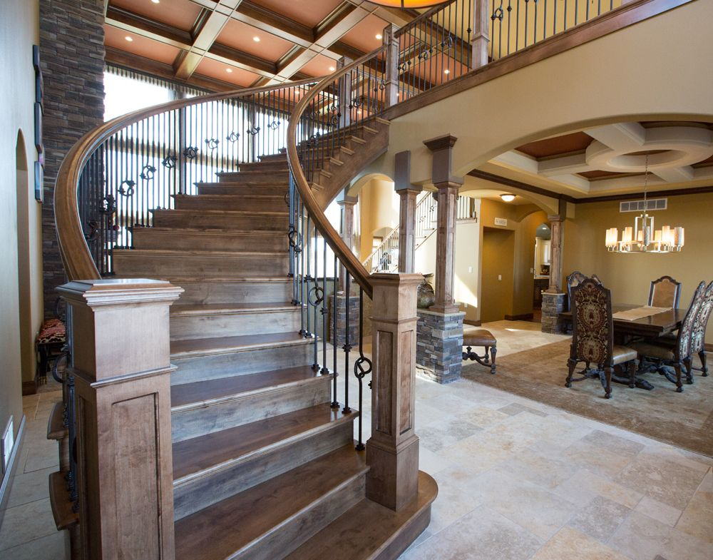 Stair Systems: Stained   S.O. Stair Goddess   Hand Rail, Landing Tread,  Custom Box Newel, Quarterturn, Gooseneck, Rubbed Bronze   Knot, Knuckle And  PlainS.