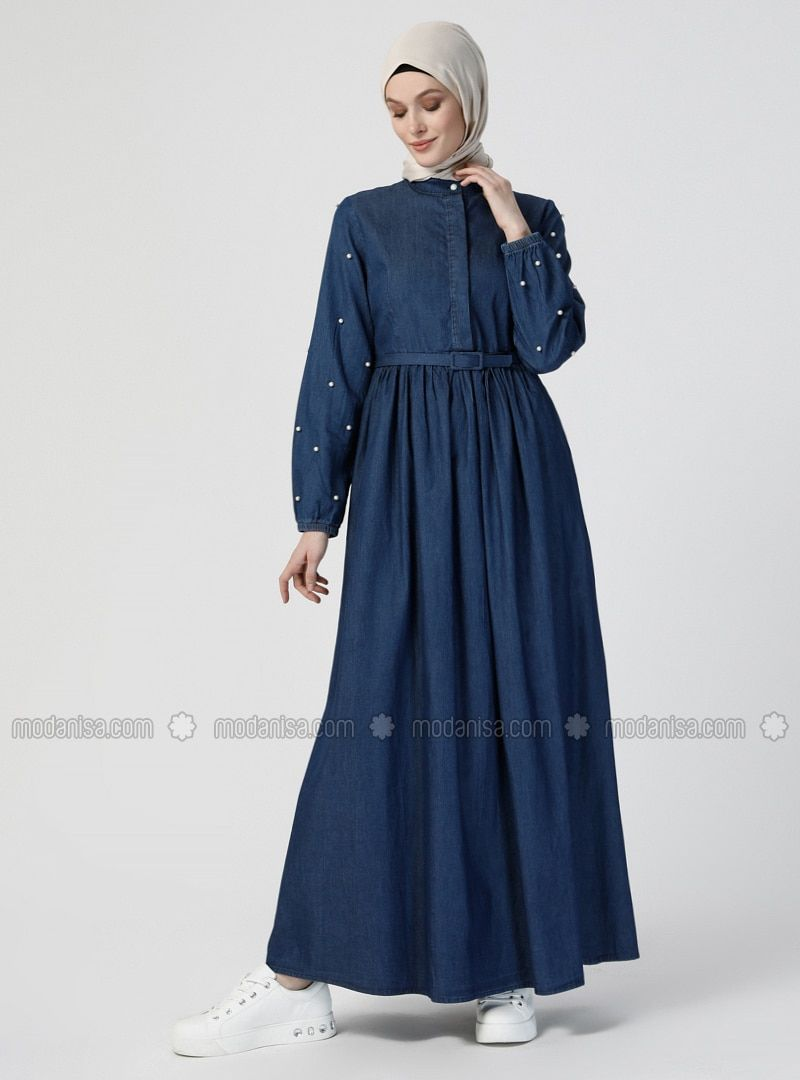 Photo of Most Beautiful Hijab Dress Models Blue collar French collar Unlined fabric …