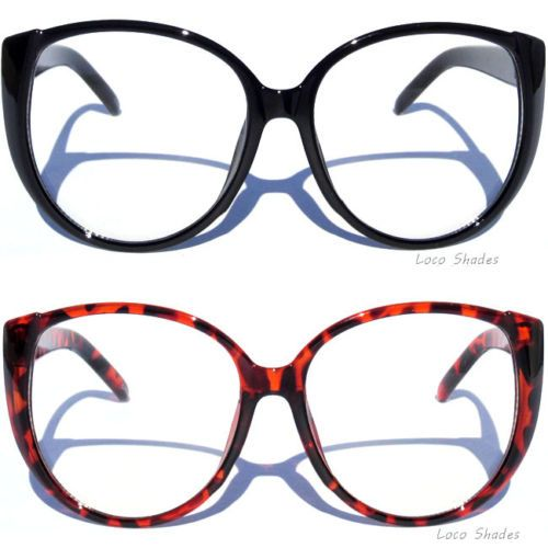 db7ef932614 OVERSIZE BIG LARGE CAT EYE FRAME CLEAR LENS GLASSES Women s Retro Vintage  Style in Clothing