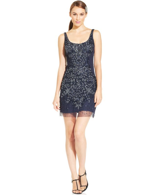 Adrianna Papell Navy Blue Embellished Cocktail Bridesmaids Dress ...