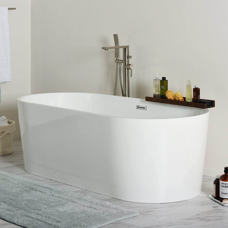 MAYKKE Tisbury 67 Inches Modern Oval Acrylic Bathtub Freestanding White Tub  In Bathroom ~ Walkinshowers.