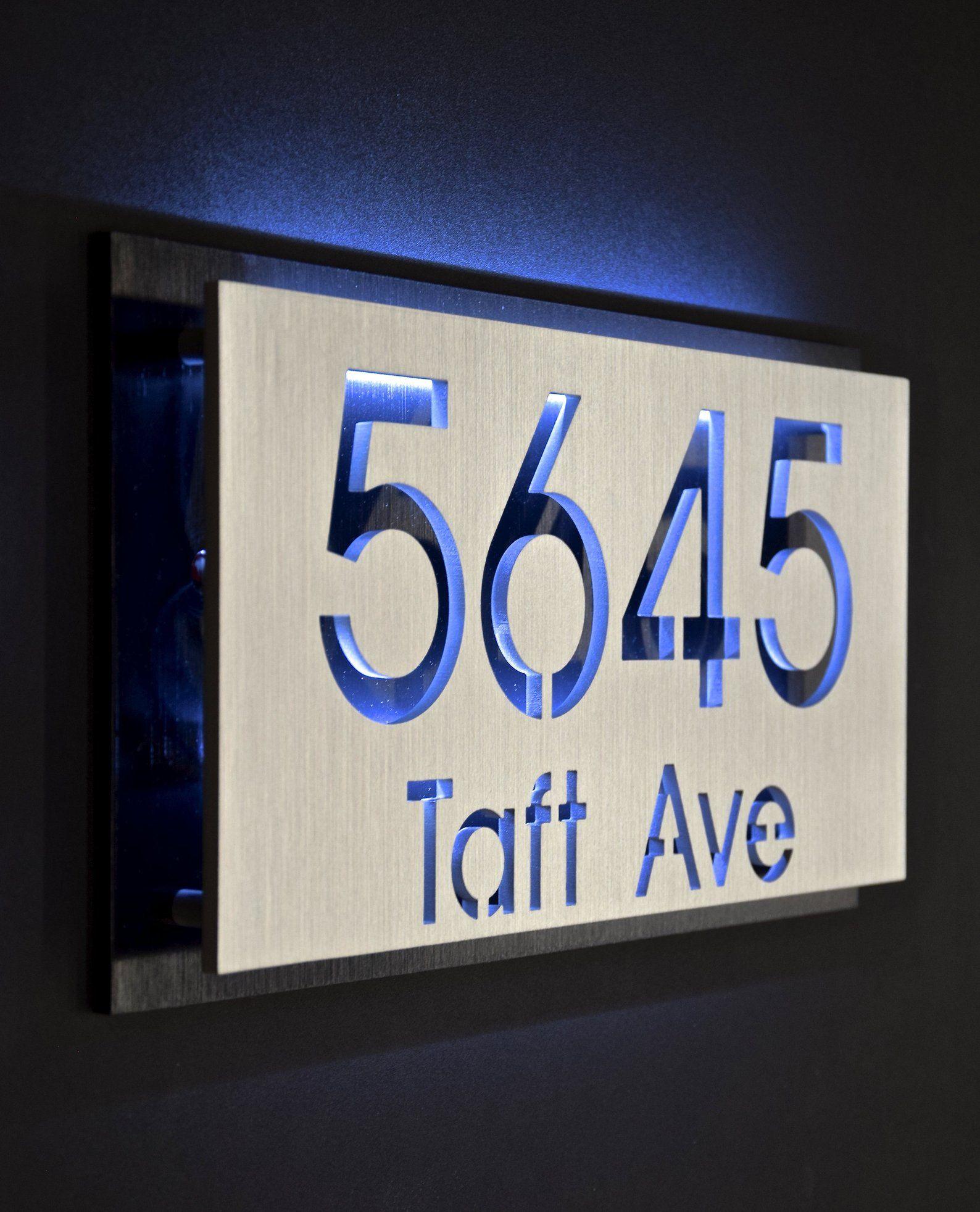 Custom Led Backlit Aluminum Address Plaque Etsy House Numbers