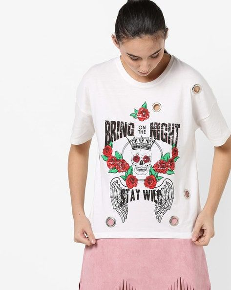 54b6beb16f7584 Women's Tshirts online. Buy Women's Tshirts online in India. – Ajio ...
