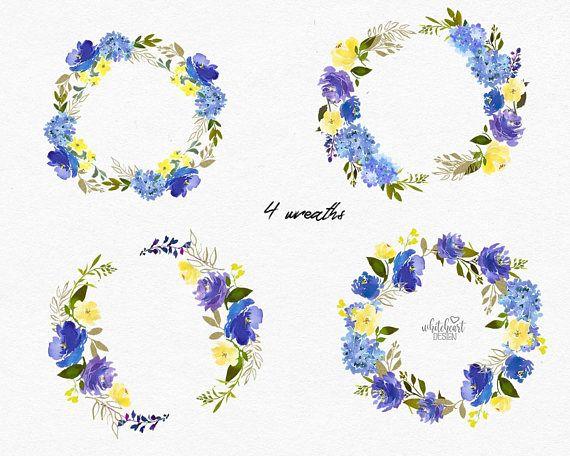 Blue Volet Yellow Watercolor Floral Wreaths Design
