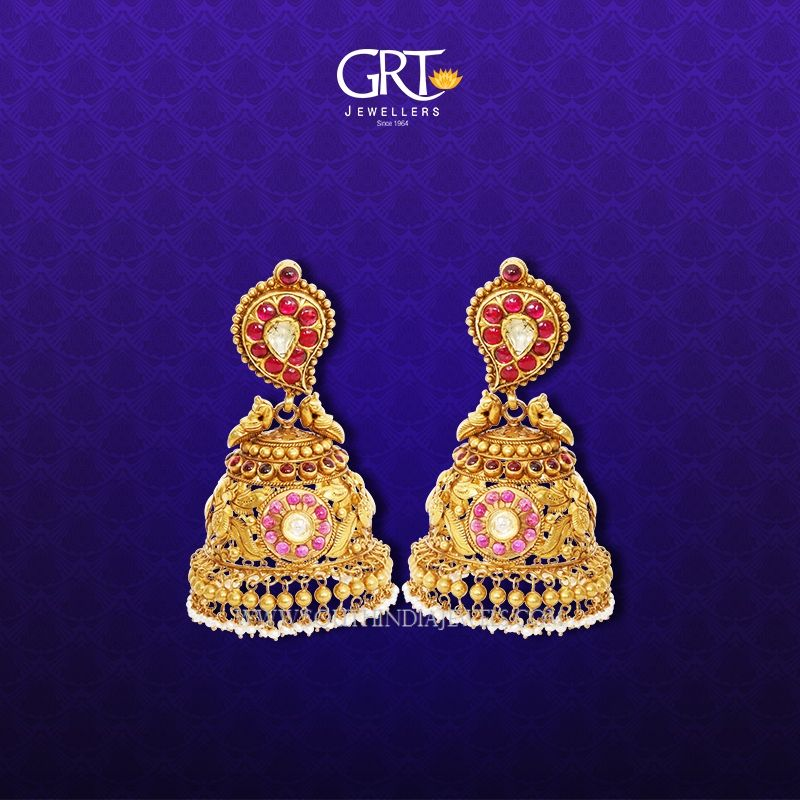 Gold Jhumkas 2017 models from GRT Jewellers, Latest Jhumka Designs 2017 From GRT.