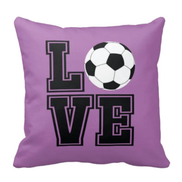LOVE Soccer Ball Throw Pillow