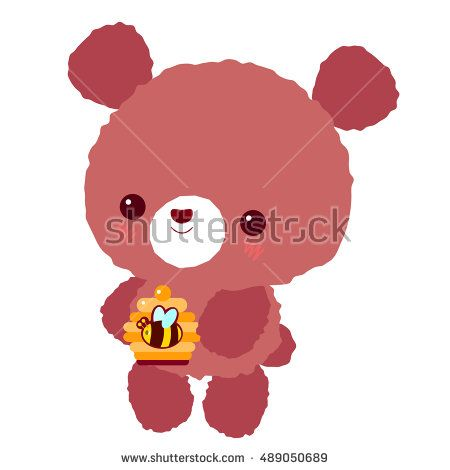 Cute brown bear with honey. Children's character. Teddy.