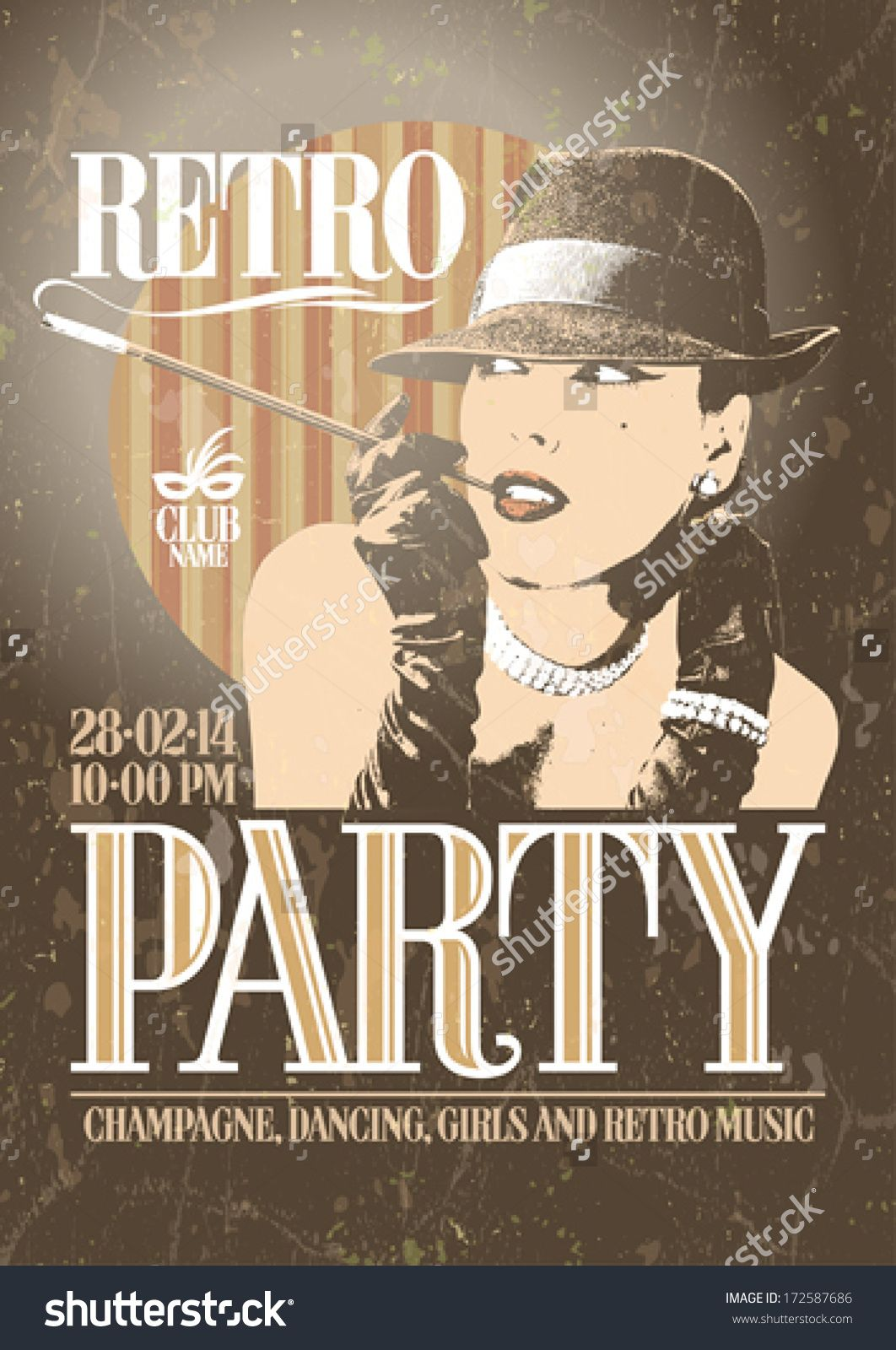 stock-vector-retro-party-poster-with-old-fashioned-smoking-woman-in-a-hat-eps-172587686.jpg (1062×1600)