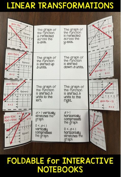Graphing Linear Function Transformations Foldable 8th