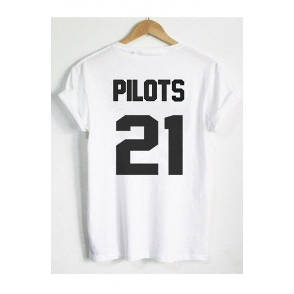 70af84cd3d PILOTS 21 Letter Number Printed Short Sleeve Round Neck Tee Top (75 BRL) ❤  liked on Polyvore featuring tops