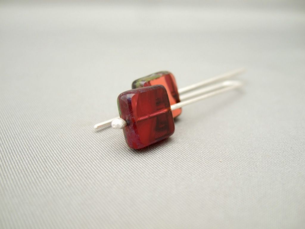 Burgundy and Tangerine Picasso Square Czech Glass and Sterling Silver Earrings