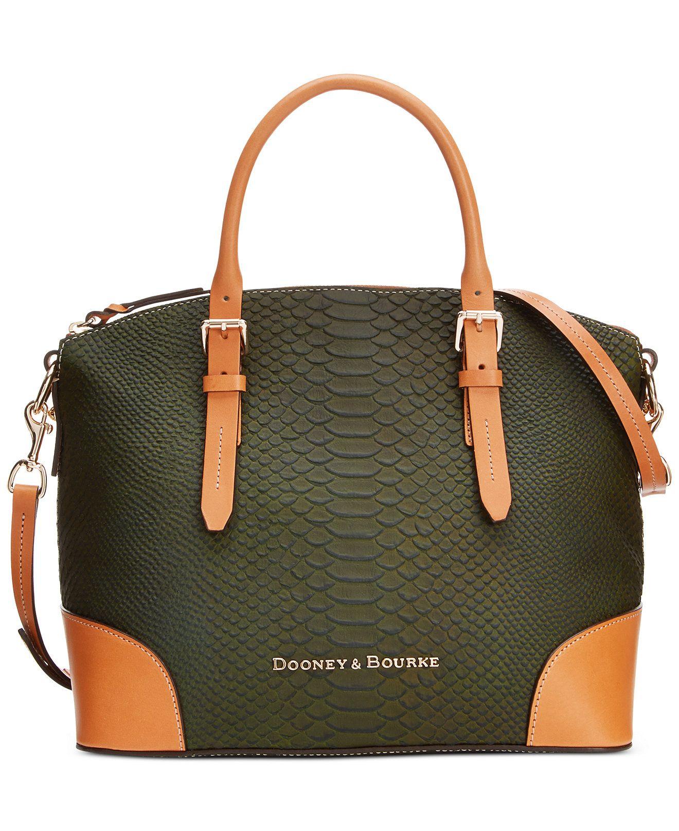 Dooney Bourke Claremont Python Domed Satchel Handbags Accessories Macy S
