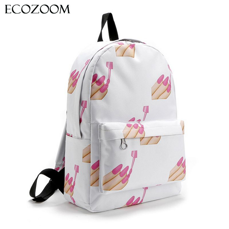 Emoji Nail Women Oxford Backpack Teenage Girl School Bags Cat Lips ...