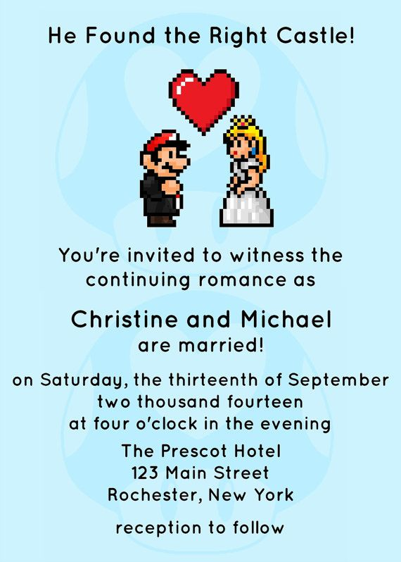 Video Game Wedding Invitation JPEG PRINTABLE By Spongeshoe On Etsy - Geeky wedding invitation templates