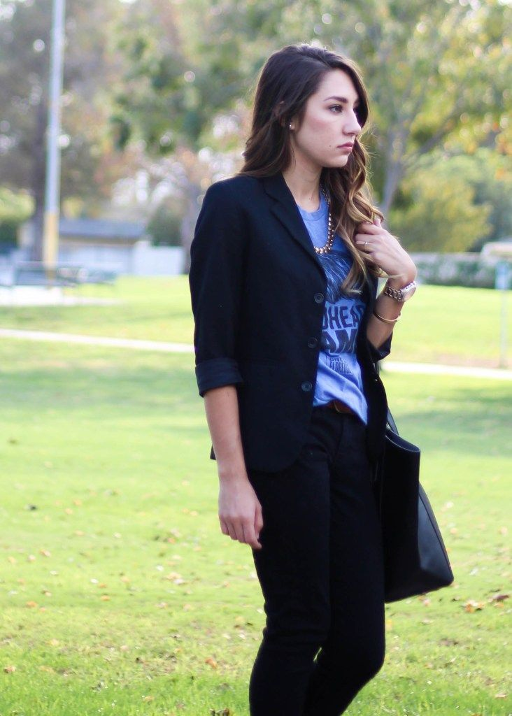 Graphic Tee and Blazer outfit with j crew gold outfit with black jeans and black tote