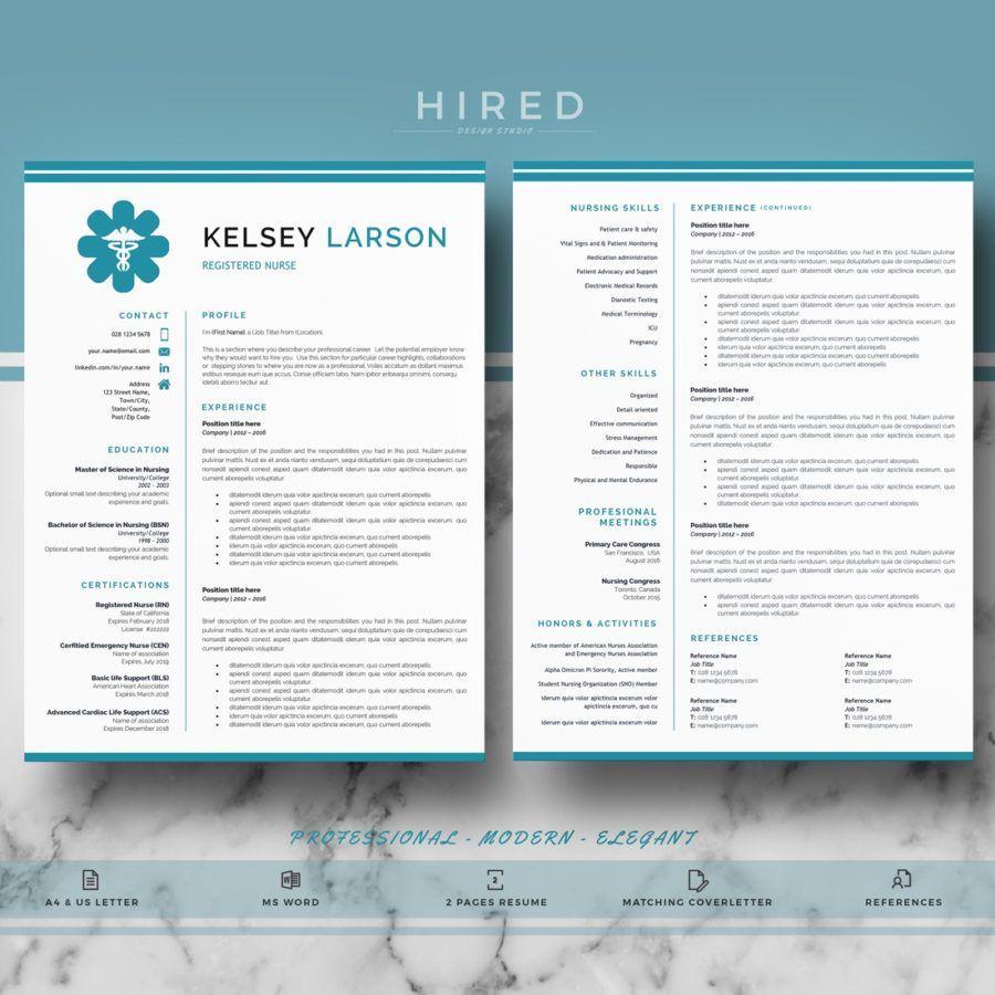 """Nurse Resume Template for MS Word """"Kelsey"""" Nursing"""
