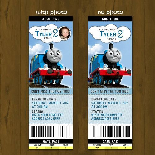 Thomas Train Ticket - Printable Birthday Ticket Invitation Card - printable ticket invitations
