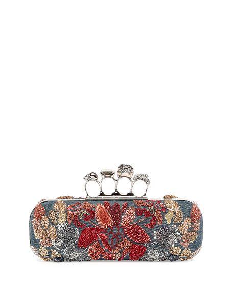 3cccd8de81b8f Alexander McQueen Knuckle Duster Denim Box Clutch Bag w/Floral Embroidery