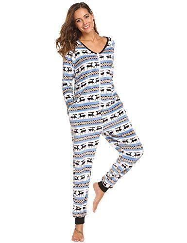 e135fde25d Ekouaer Womens Christmas V Neck Onesie Jumpsuit Long Sleeve One Piece  Pajama Playsuit S-XXL
