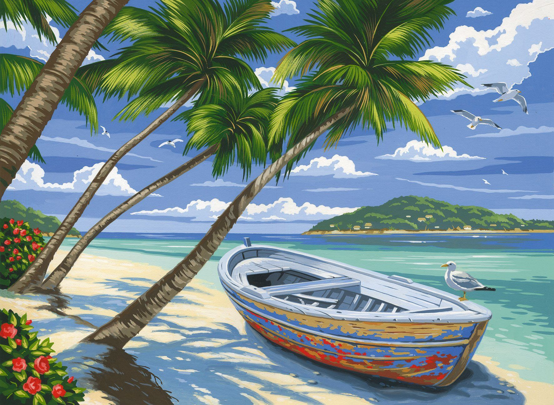 Reeves Tropical Beach Acrylic Painting by Numbers Set, Large | Paint ...