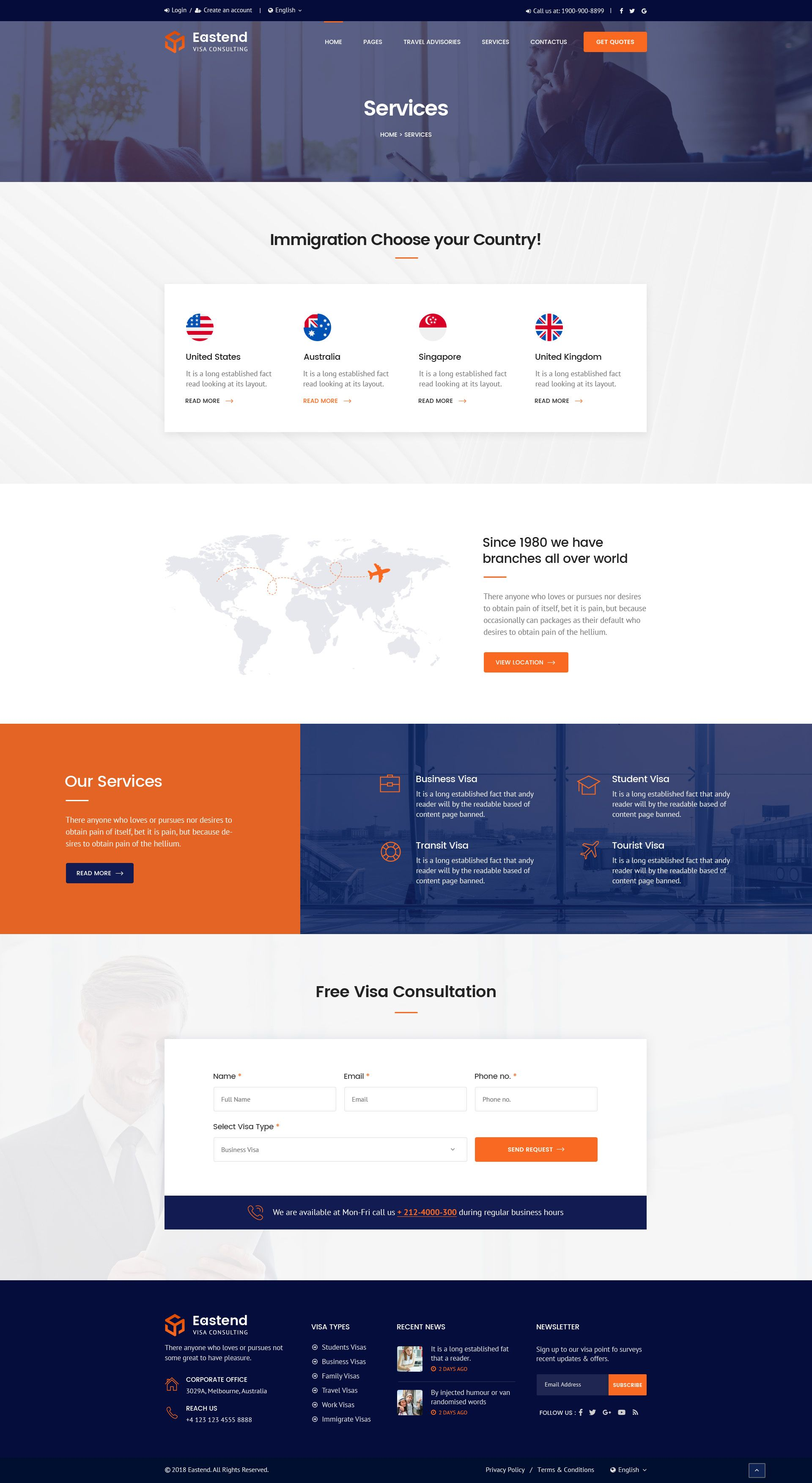 Eastend - Visa Immigration Consulting PSD Template