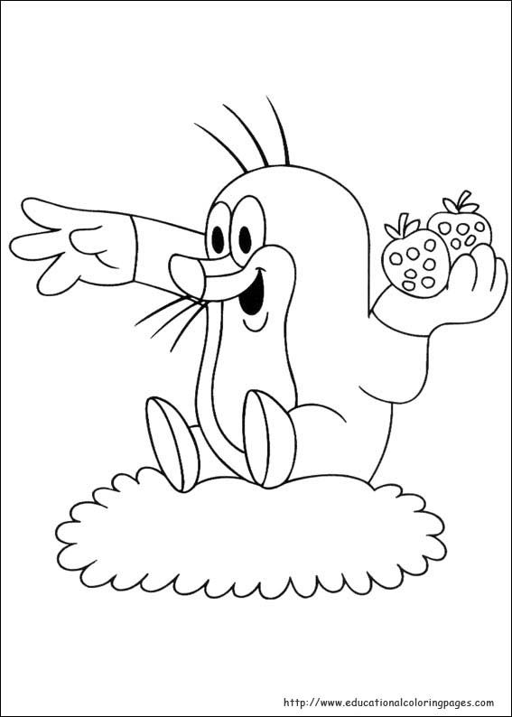 mole coloring pages - Ausmalbild der kleine Maulwurf mit Erdbeeren ...
